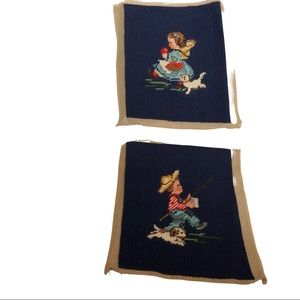 2 VTG needlepoint pictures 1 boy & 1 girl with dog